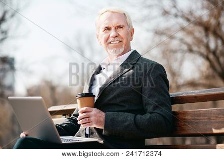 Work In Park. Low Angle Of Positive Mature Businessman Using Laptop While Working On Bench
