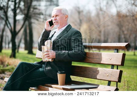 Pause For Lunch. Handsome Mature Businessman Talking On Phone And Eating Sandwich