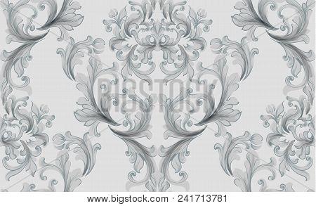 Vintage Baroque Seamless Texture Pattern Vector. Wallpaper Ornament Decor. Textile, Fabric, Tiles Tr