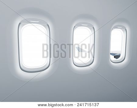 Airplane Windows For View Insertion With Clipping Path Included - 3d Rendering