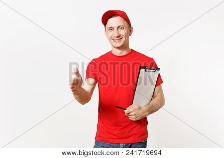 Delivery Man In Red Uniform Isolated On White Background. Male Courier Standing With Outstretched Ha