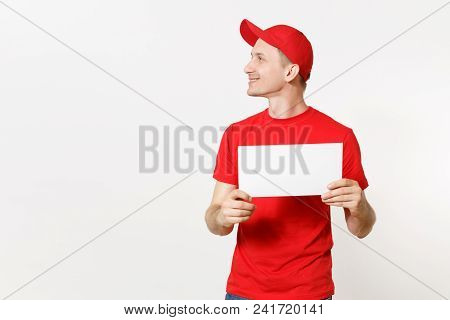 Delivery Man In Red Uniform Isolated On White Background. Male Fun Courier In Cap, T-shirt, Jeans Ho