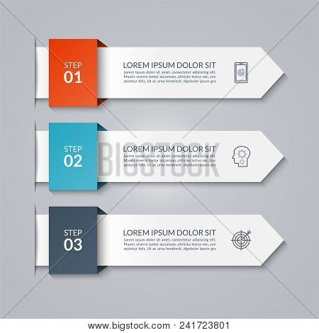 Infographic Arrow Template. Vector Banner Of 3 Options, Steps, Parts. Can Be Used For Diagram, Graph