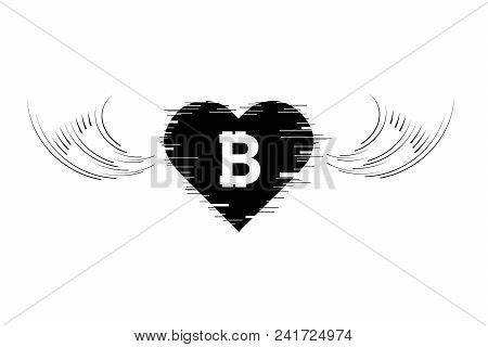 Bitcoin Cripto Currency Blockchain. Bitcoin Flat Logo On White Background. Bitcoin In Heart With Win