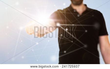 Management Network Concept On Translucent Touch Screen With Businessman Touching Node With Extended