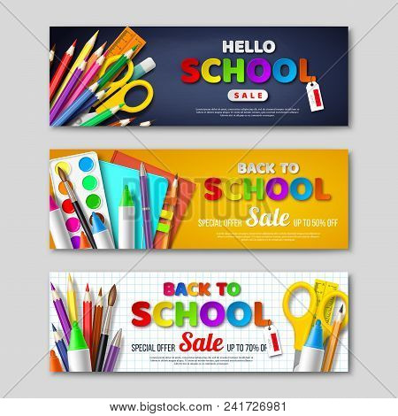 Back To School Sale Horizontal Banners With 3d Realistic School Supplies And Paper Cut Style Letters