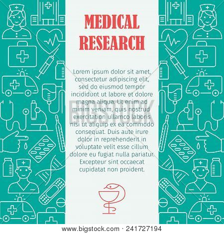 Medical Research Pattern With Flat Line Icons Of Doctor Ambulance Medical Equipment Clinic Symbols F