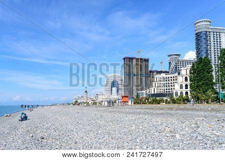 BATUMI, GEORGIA - MAY 10: Luxury hotels on the boulevard of the Black Sea on May 10, 2018 in Batumi, Adjara in Georgia