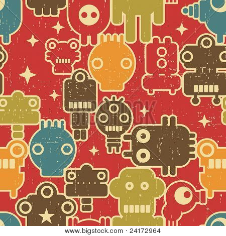 Robot and monsters modern seamless pattern on red.