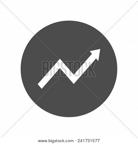 Growing Graphic Arrow. Round Button. Vector Icon.
