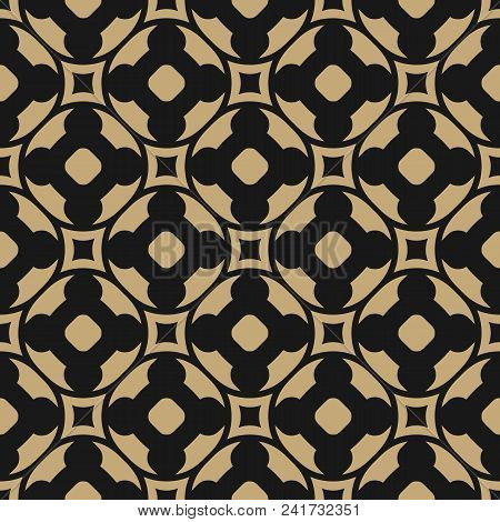 Vector Seamless Pattern In Oriental Style. Black And Gold Geometric Ornament, Abstract Repeat Backgr