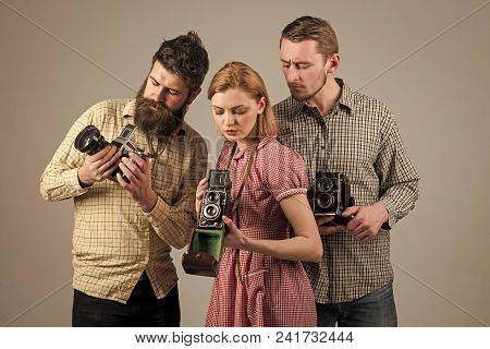 Handsome Man Face. Men In Checkered Clothes, Retro Style. Vintage Photography Concept. Company Of Bu