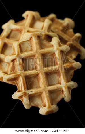Homemade Waffles On A Black Background