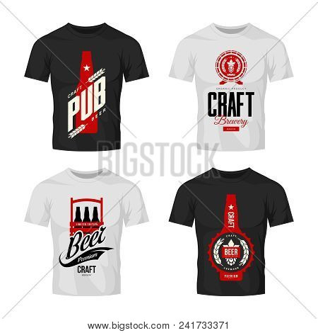 Modern Craft Beer Drink Vector Logo Sign For Bar, Pub, Brewery Or Brewhouse Isolated On T-shirt Mock