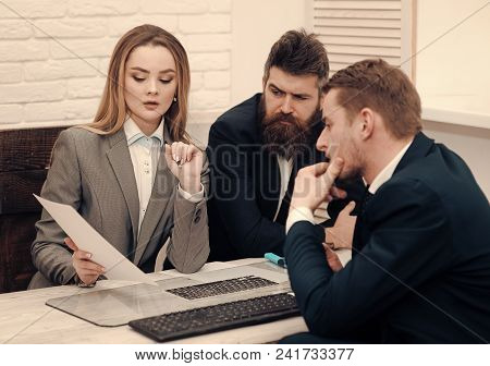Business Partners, Businessmen At Meeting, Office Background. Business Negotiations Concept. Busines
