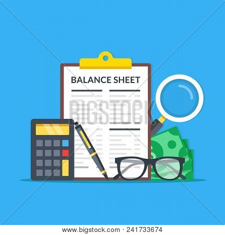 Accounting, Financial Statement, Audit Concepts. Balance Sheet Clipboard, Magnifying Glass, Money, G