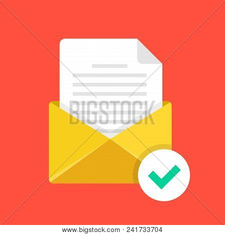 Confirmation Letter. Yellow Envelope With Green Check Mark. Confirmation Email, Trusted E-mail, Veri