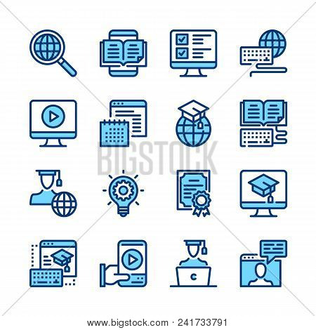 E-learning Line Icons. Elearning, Online Education Concepts. Modern Graphic Elements, Simple Symbols