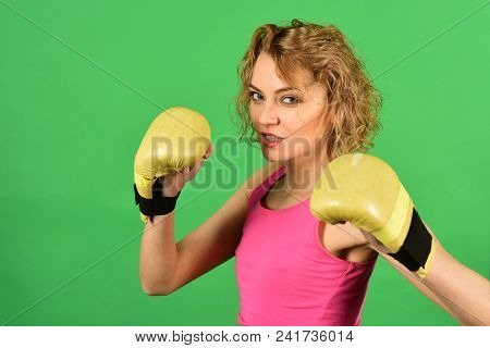 Sexual Girl During Fitness And Boxing. Woman With Boxing Gloves. Sexy Fighter Girl In Sportswear. Sp