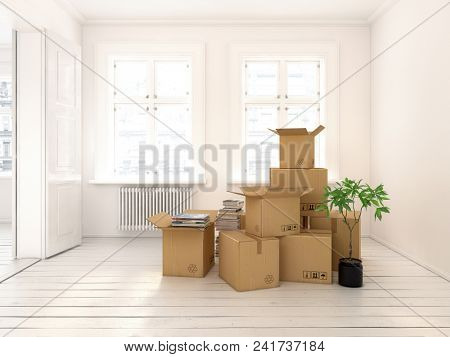 nterior with packed cardboard boxes for relocation 3 D rendering