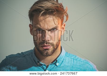 Serious Handsome Businessman, Portrait. Attractive Man With Stylish Hairstyle. Smart Pensive Man In