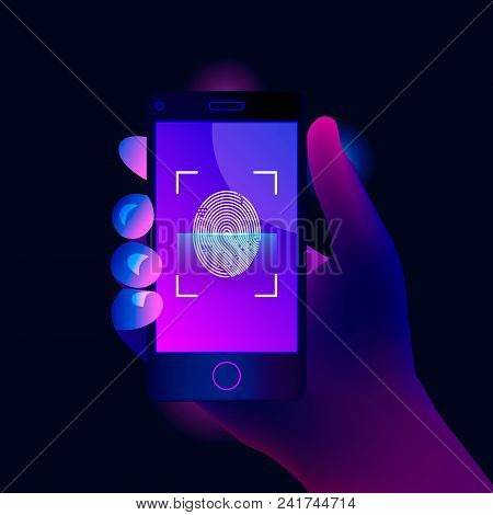 Smartphone With Fingerprint. Mobile Phone Screen With Scanning Process. Trendy Style Background. Vec