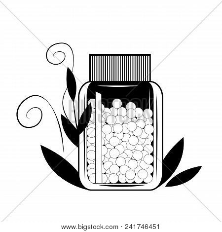 Bottle With Gomeophatic Granulas. Homeopathic And Herbal Pills. Health Concept. Vector Illustration,