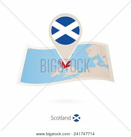 Folded Paper Map Of Scotland With Flag Pin Of Scotland. Vector Illustration