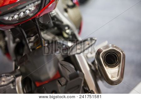 Close Up Of A Sport Motorcycle Exhaust Pipe.