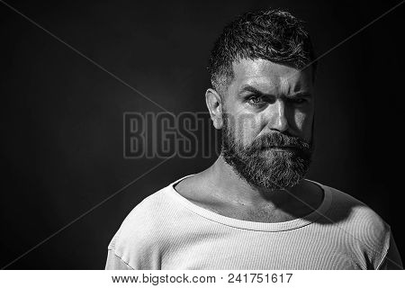 Portrait Closeup Of Handsome Man. Natural Confident Portrait Concept. Cool Bearded Man In White T-sh