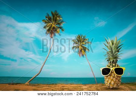 Tropical Summer Delights, Fresh Pineapple On The Beach, Fashion Hipster Pineapple, Bright Summer Col