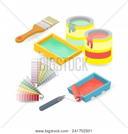 Brush, Roller, Palette. Isometric Construction Tools Isolated On A White Background. Vector Flat Ill