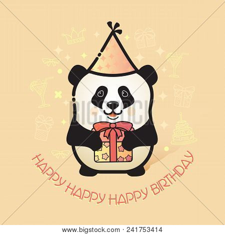 Happy Birthday Card. Funny Panda In Party Hat Holds A Gift. Vector Illustration With A Line Art Cute