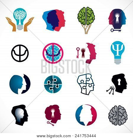 Psychology, Brain And Mental Health Vector Conceptual Icons Or Logo Set. Relationship And Gender Psy