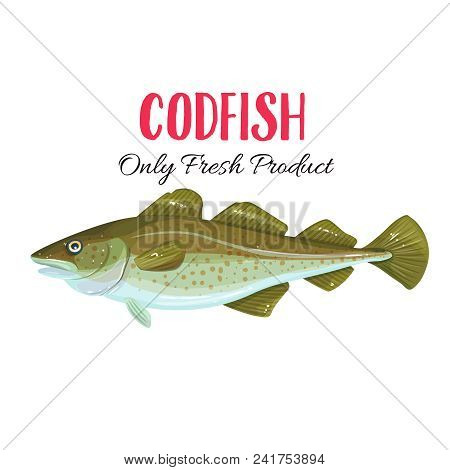 Vector Codfish. Icon Badge Fish For Design Seafood Packaging And Market.