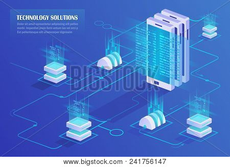 Downloading, Uploading And Storing Data. Data Centre. Cloud Service And Mobile Devices. High Technol