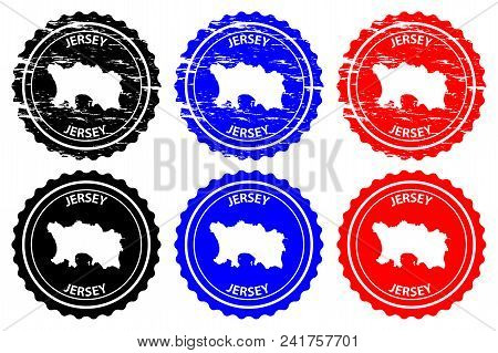 Jersey - Rubber Stamp - Vector, Bailiwick Of Jersey Map Pattern - Sticker - Black, Blue And Red