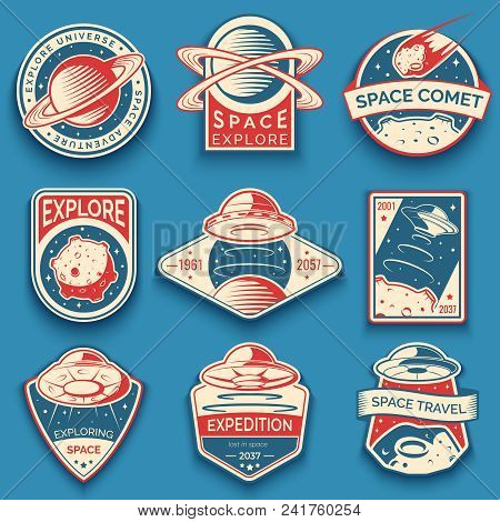 Colorful Space, Ufo And Planet Vector Labels, Logos, Badges, Emblems. Explore Mission In Space