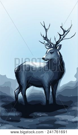 Winter Snow Forest Navy Deer With Big Horns Vector Art Illustration