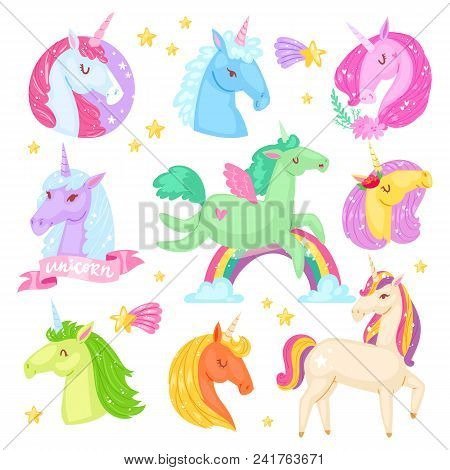 Unicorn Vector Cartoon Kids Character Of Girlish Horse With Horn And Colorful Ponytail In Love Illus