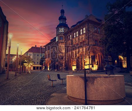 Stadt Nordhausen Rathaus sunset city hall with Roland figure in Thuringia Germany