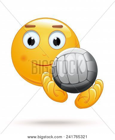 Cheerful Smiley Catches The Ball. Emoticon Playing Volleyball. Emoji With Ball For Playing Volleybal