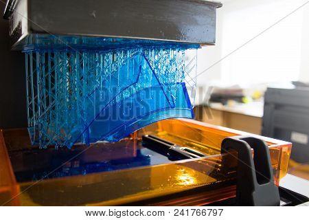3d Printing Process. Modern 3d Print Technology. Working 3d Printer Machine Printing A Detail. Close