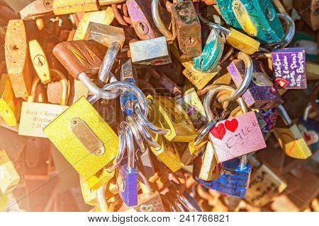 Castles Symbolizing Eternal Love, Many Castles Hang On The Iron Bridge, Bridge Of Love, Conceptual