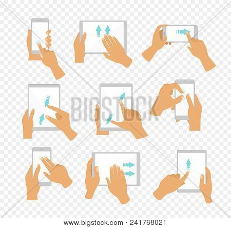 Vector Illustration Set Of Flat Hand Icons Showing Commonly Used Multi-touch Gestures For Touchscree