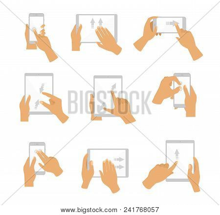 Vector Illustration Of Collection Of Hand Gesture For Touch Screen. Fingers Touch Screen Of Gadgets,