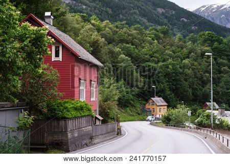 Norway, Odda, July 06, 2017: norwegian village in a mountain valley