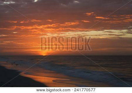 Sunrise On A Beach In Florida.  Sanibel Island, Fl, Usa.