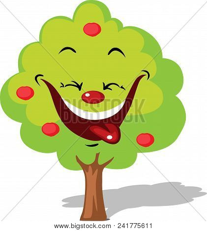 Funny Apple Tree Smiling Character Flat Design Isolated