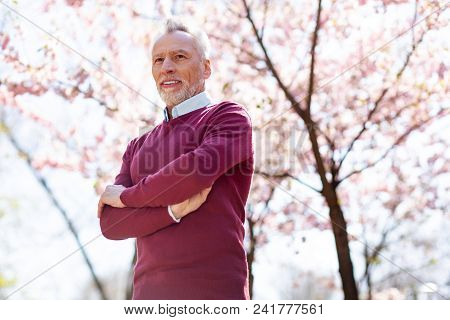 Positive Emotions. Happy Aged Man Smiling While Being In A Wonderful Mood